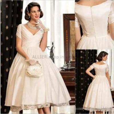 ウェディングドレス/ステージ衣装 ヴィンテージホワイト/アイボリーショートサテンレースウェディングドレスVネックジッパーブライダルド