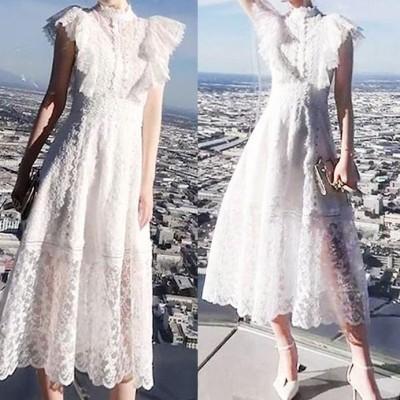 ワンピース ドレス ホワイト 総レース 清楚 シンプル 甘め 夏