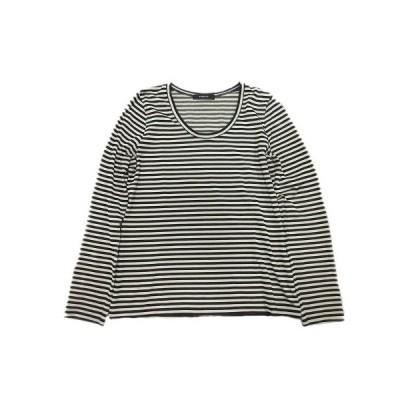 【中古】パリゴ PARIGOT Tシャツ カットソー ボーダー 長袖 M ベージュ 黒 ブラック/4 レディース 【ベクトル 古着】