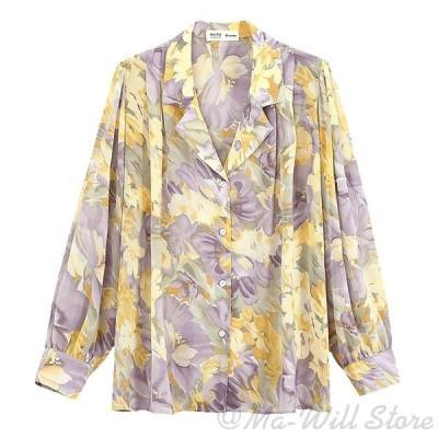 ブラウス シャツ 可愛い 小紋 襟付き 淑女風 シフォン 着痩せ 長袖 レディース パープル 通勤