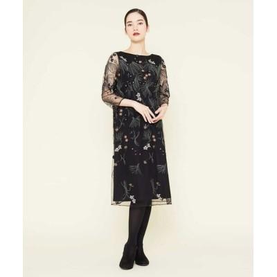 Sybilla/シビラ ボタニカル刺繍チュールスリーブドレス ブラック 36