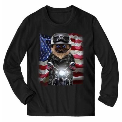 【シャムネコ ねこ バイク 星条旗 アメリカ】メンズ 長袖 Tシャツ by Fox Republic