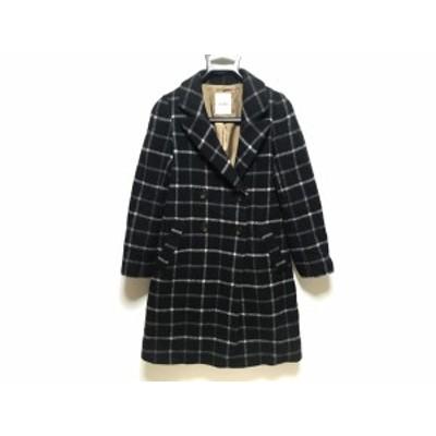 スナイデル snidel コート レディース 黒×白 チェック柄/冬物【中古】20200523