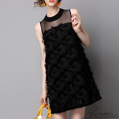 パーティードレス ノースリーブ ミニ丈 フェザー ワンピドレス スカート ワンピース フォーマル 結婚式 20代 30代 お取り寄せ