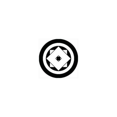 家紋シール 丸に重ね釘抜き紋 直径4cm 丸型 白紋 4枚セット KS44M-0640W