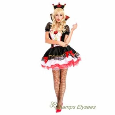 ハロウィンレディース衣装 コスプレセクシーハートトランプ女王クイーンイベント衣装舞台衣装ワンピステージ服クリスマス