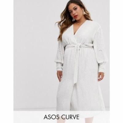 エイソス ASOS EDITION レディース ワンピース ラップドレス ミドル丈 ワンピース・ドレス curve sequin wrap midi dress ホワイト