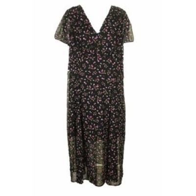Betsey Johnson ベッツィージョンソン ファッション ドレス Betsey johnson black short sleeve floral print deep v neck