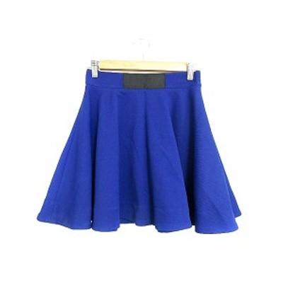【中古】カロリナ グレイサー CAROLINA GLASER スカート フレア ミニ 1 青 ブルー /AAM17 レディース