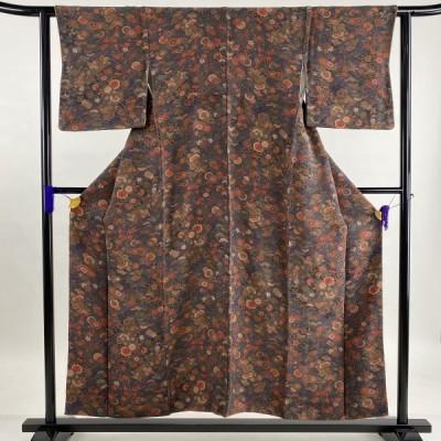 小紋 優品 亀甲 菊 金彩 縮緬 茶紫 袷 身丈152.5cm 裄丈63cm S 正絹 中古