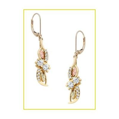 送料無料 イヤリング 10k Yellow Gold Diamond Dangle Earrings, 12k Rose and Green Black Hills Gold (.56 Ctw, HJ Color, I1-2 Clarity)