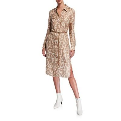 ラファイエットワンフォーエイト レディース ワンピース トップス Painted Leopard Long-Sleeve Silk Shirtdress w/ Leather Belt