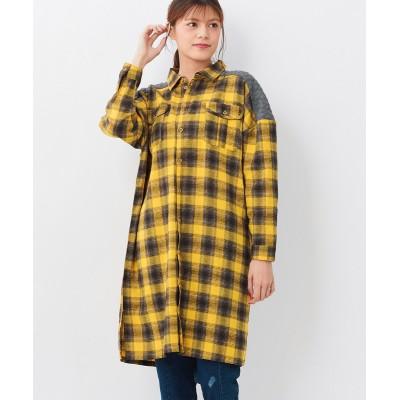 大きいサイズ 異素材使いシャツワンピース ,スマイルランド, ワンピース, plus size dress