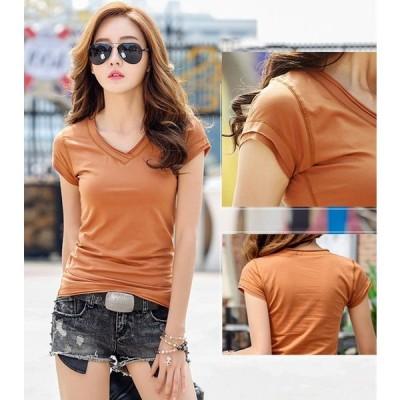 半袖Tシャツ レディース カットソー インナー Tシャツ 半袖 トップス Vネック 5色  送料無料