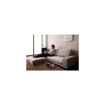 ソファー ソファ 3人掛け オットマン おしゃれ 布 北欧 応接 カウチ 座椅子 ローソファ カバー付 ( 3P+足置 緑 )