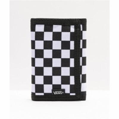 ヴァンズ VANS メンズ 財布 チェッカーフラッグ 三つ折り Vans Slipped Black and White Checkerboard Trifold Wallet Black