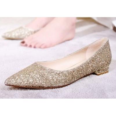 靴 結婚式 レディース パンプス ローヒール スパンコール おしゃれ お呼ばれ 上品 フラットシューズ 二次会 パーティ 大きいサイズ