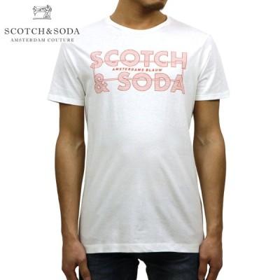 スコッチアンドソーダ SCOTCH&SODA 正規販売店 メンズ クルーネック 半袖ロゴTシャツ AMS BLAUW SCOTCH & SODA SIGNATURE TEE D 147613 01 DENIM WHITE