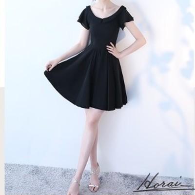 韓国 パーティードレス ショート丈 半袖 ワンピドレス 結婚式 二次会 秋冬 お呼ばれ ディナー パーティー 20代 30代 40代