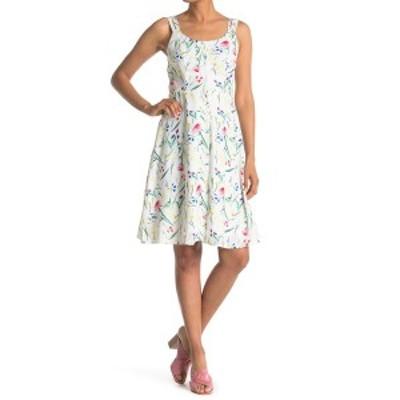 パピロン レディース ワンピース トップス Floral Back Cutout Dress WHITE