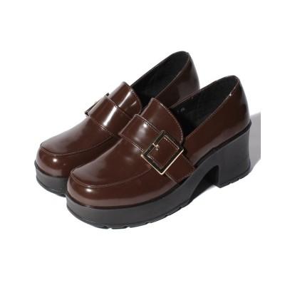 【シュークロ】 バックルモチーフ 軽量ソール使用 スクエアートゥ厚底ローファー《ヒール約6.0cm》1971 レディース ダークブラウンエナメル S Shoes in Closet