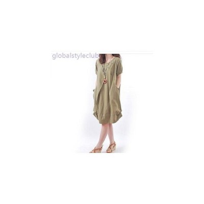 ワンピース ミディ丈 無地 ゆったり ふんわり シンプル ルーズフィット 半袖 ドレス 大きいサイズ レディース 女性 黒 ブルー クリーム グリーン