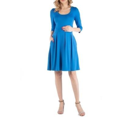 24セブンコンフォート ワンピース トップス レディース Fit and Flare Scoop Neck Maternity Dress Blue