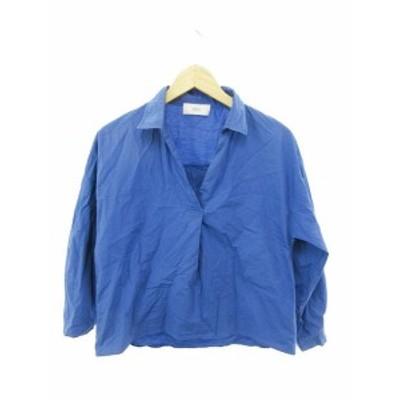 【中古】アズールバイマウジー AZUL by moussy シャツ オープンネック オーバーサイズ 長袖 S 青 ブルー /YK4 レディース