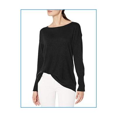 NYDJ Women's Button Back Boat Neck Sweater, Black, L【並行輸入品】