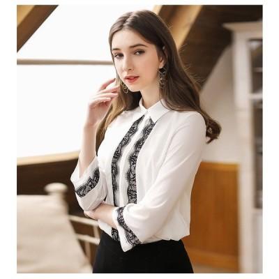 シフォンシャツ レディース  長袖   オシャレ  レース シャツ  花柄  大きいサイズ ブラウス ホワイトシャツ 2枚仕立て 透けない