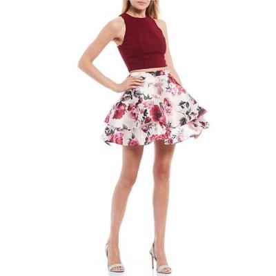 シティヴァイブ レディース ワンピース トップス Sleeveless Top with Floral Skirt Two-Piece Dress
