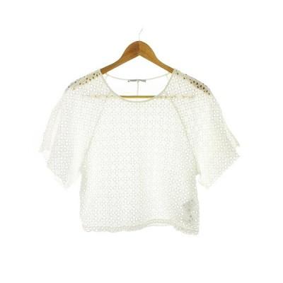 【中古】ザラ ZARA カットソー 半袖 刺繍 M 白 ホワイト /CK レディース 【ベクトル 古着】
