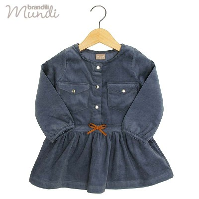 ■30%OFF■【BRANDILI MUNDI】女の子 子供服 コーデュロイ切り替えワンピース ネイビー(2(2歳〜3歳 90cm))
