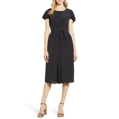 ボベー レディース ワンピース トップス Pleated Woven Dress BLACK