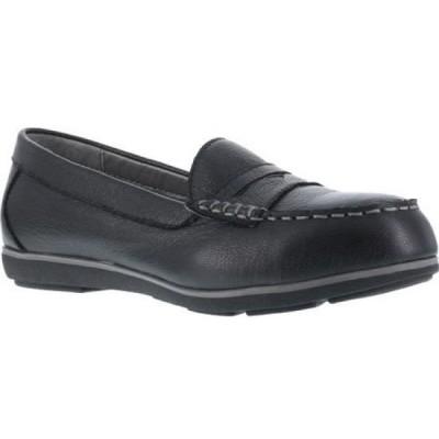 ロックポート Rockport Works レディース ローファー・オックスフォード シューズ・靴 Top Shore RK600 Steel Toe Loafer Black Leather