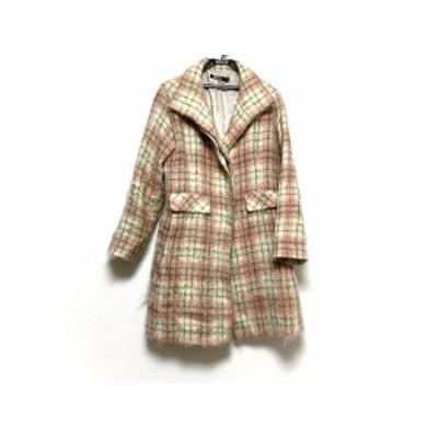 ダナキャラン DKNY コート サイズ4 XL レディース 美品 - ピンク×白×グリーン 長袖/秋/冬【中古】20201015