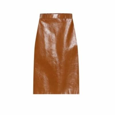 プラダ Prada レディース ひざ丈スカート スカート Leather midi skirt Acero