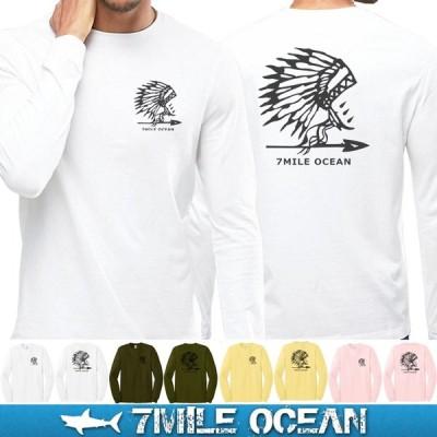 メール便 送料無料 7MILE OCEAN メンズ 長袖 ロング Tシャツ ロンT プリント ロゴT アメカジ ストリート 人気 ブランド 大き目 ビックサイズ