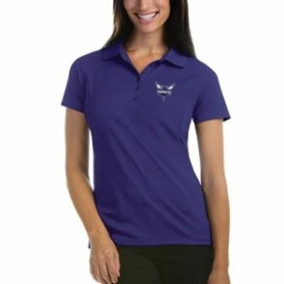 Antigua アンティグア スポーツ用品  Antigua Charlotte Hornets Womens Purple Pique Xtra-Lite Polo