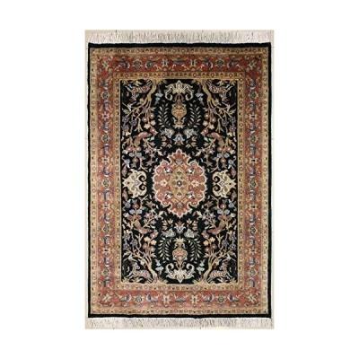 海外限定 RugsTC 4'1 x 6'0 Pak Persian Area Rug with Silk & Wool Pile - Pictorial Hunting Shikargah Design | 100% Original Hand-Knotted i