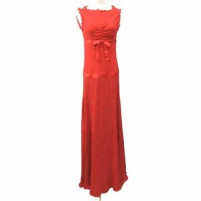 【中古】ヴァレンティノ ヴァレンチノ  VALENTINO シルク ドレス シフォン リボン ワンピース 正規 40 Lサイズ レッド