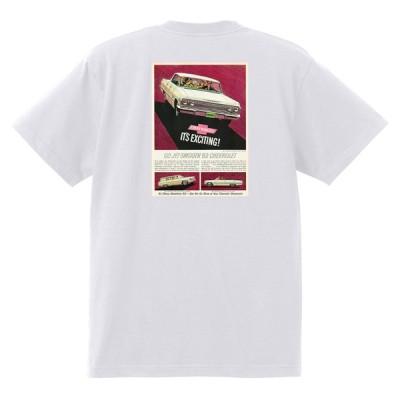 アドバタイジング シボレー インパラ 1963 Tシャツ ア 044 白メ車 ホットロッド ローライダー広告 ベルエア ビスケイン
