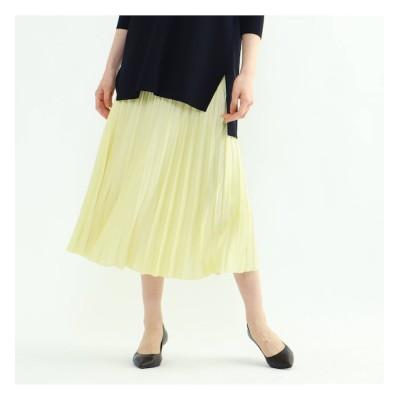 【インディヴィ/INDIVI】 「S」ドレープサテン切り替え風プリーツスカート