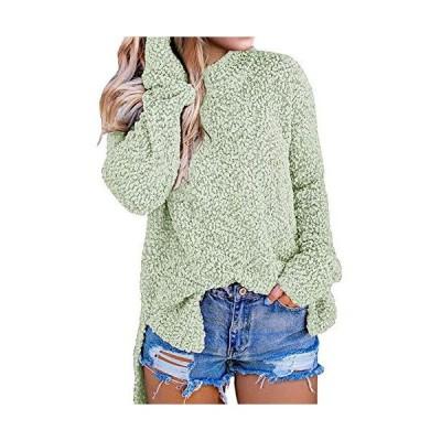 MEROKEETY Women's Long Sleeve Sherpa Fleece Knit Sweater Side Slit Pullover