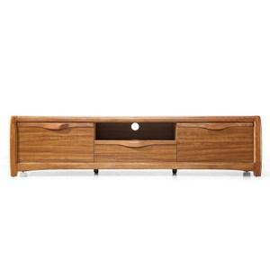 林氏木業中式烏金木色實木框弧形桌腳電視櫃 1.8M CU1M