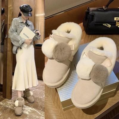 スノーブーツ ムートンブーツ レディース  ショートブーツ  裏ボア 女性用 短靴 シューズ ローヒール 雪対応防寒 保温 防寒