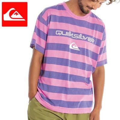 クイックシルバー 半袖 メンズ Tシャツ 綿100% カットソー ボーダー柄 ピンク QST212048