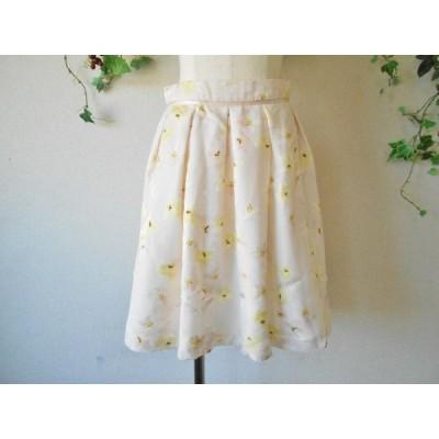 美品 レッセパッセ LAISSE PASSE お花 プリント の 可愛い スカート 38