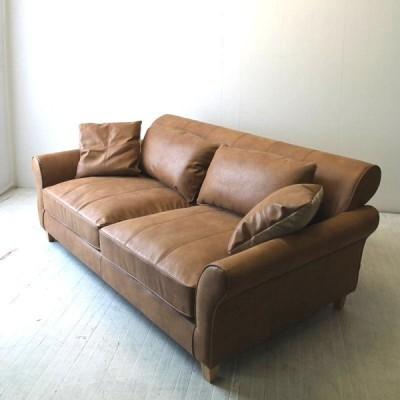 北欧家具 レザーテックス3Pソファ NRT-S-6753P-126725 奥行110cmのダイナミックなソファです。