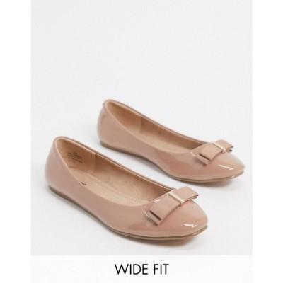 エイソス ASOS DESIGN レディース スリッポン・フラット シューズ・靴 Wide Fit Luna bow ballet flats in beige